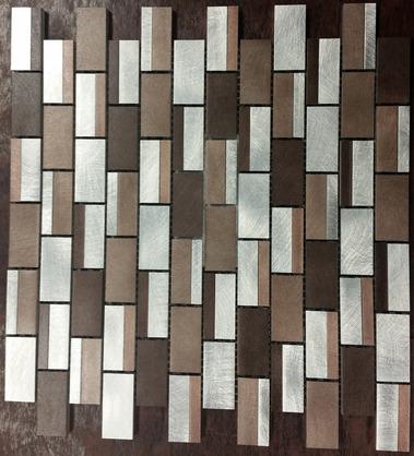 Chocolate/Silver Blend Brick Mosaic